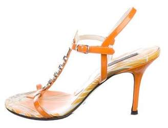 Dolce & Gabbana Chain-Link Patent Leather Sandals