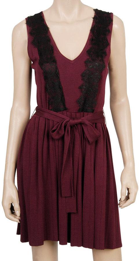 Lace Overlay Sweater Dress