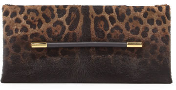 Tom Ford Tom Ford Ava Leopard-Print Calf Hair Clutch Bag, Black Pattern