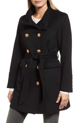 Sofia Cashmere Wool & Cashmere Blend Military Coat