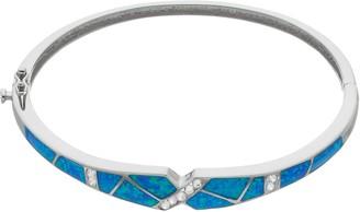 Sterling Silver Lab-Created Blue Opal Bangle Bracelet