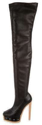 Vera Wang Leather Thigh-High Boots $425 thestylecure.com
