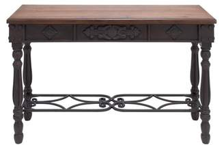 DecMode Decmode Traditional Carved Fir Wood and Metal Console Table, Brown