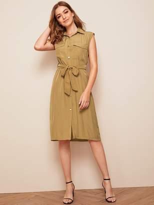 Shein Flap Pocket Self Belt Tea Dress
