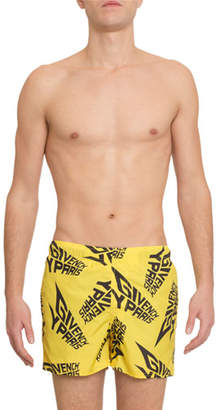 Givenchy Men's Logo-Print Swim Trunks