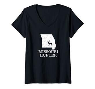 Hunter Womens Missouri State Silhouette Deer Hunting V-Neck T-Shirt