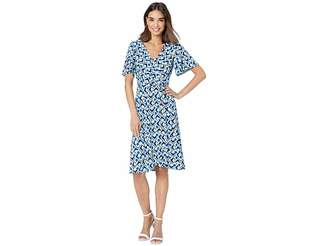 Donna Morgan Short Tie Sleeve Printed Jersey Faux Wrap Dress