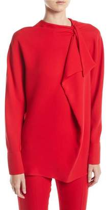 Valentino Long-Sleeve Ruffle Silk Cady Couture Blouse
