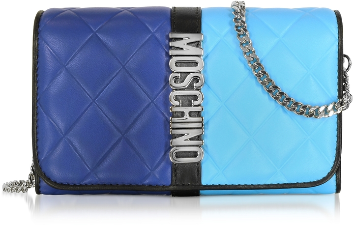 Moschino Moschino Blue Color Block Nappa Leather Wallet on Chain