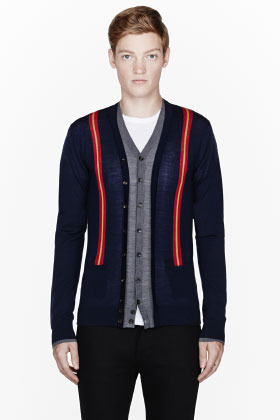 DSquared DSQUARED2 Navy striped & layered cardigan