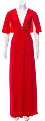 Halston Cape Sleeve V-Neck Evening Dress