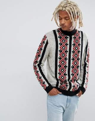 Asos Design DESIGN heavyweight turtle neck jumper with textured yarn