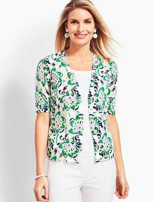 Talbots Kelly Blooming Paisley Full Needle Cardigan