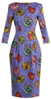 Stella Jean Graphic Print Boat Neck Dress - Womens - Blue Multi