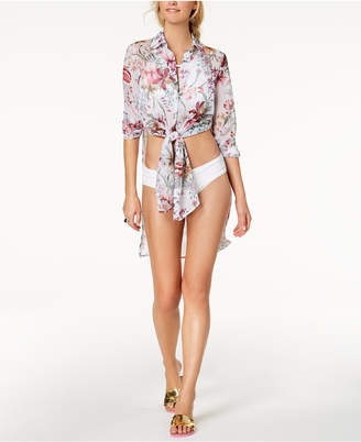 Carmen Marc Valvo Floral Printed Shirt Cover-Up Women's Swimsuit