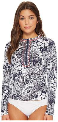 Tommy Bahama Paisley Paradise Half-Zip Rash Guard Women's Swimwear