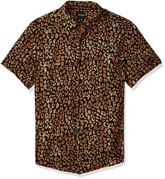 GUESS Men's Short Sleeve Spotted Leopard Print Shirt