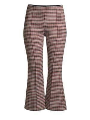 Smythe Cropped Plaid Flare Pants