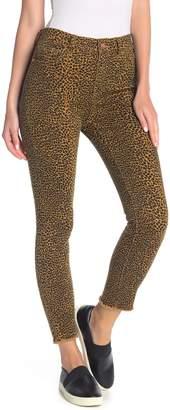 Current/Elliott The Stiletto Leopard Print Frayed Hem Jeans