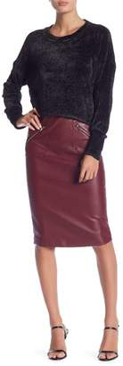 Romeo & Juliet Couture Fitted Faux Leather Pencil Skirt