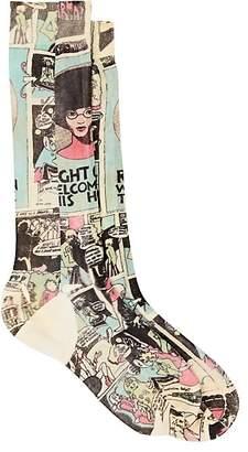 Prada Women's Comic-Print Cotton Mid-Calf Socks