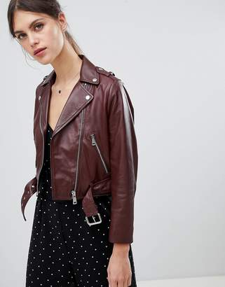LAB LEATHER Lab Leather Cropped Biker in Oxblood