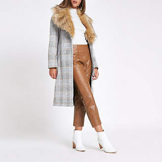 River Island Brown leather flared pants
