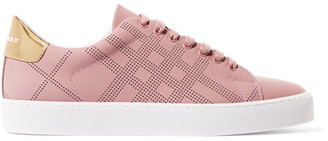 Burberry - Metallic-trimmed Perforated Leather Sneakers - Antique rose $425 thestylecure.com
