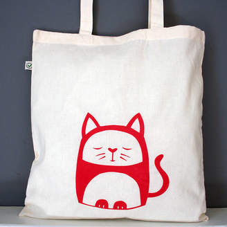 Nell Contented Cat Organic Cotton Tote Bag