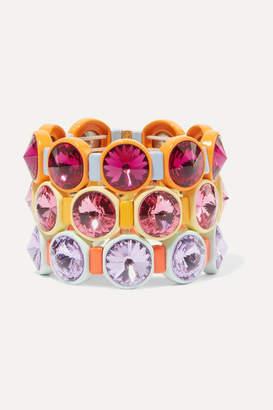 Swarovski Roxanne Assoulin Technicolor Set Of Three Enamel And Crystal Bracelets - Pink