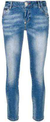 Philipp Plein rose patch skinny jeans
