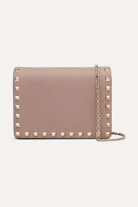 Valentino Garavani The Rockstud Textured-leather Shoulder Bag - Pastel pink