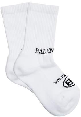 Balenciaga Logo Jacquard Cotton Blend Socks - Womens - White