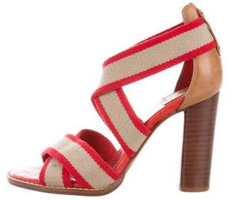 Tory Burch Bicolor Crossover Strap Sandals