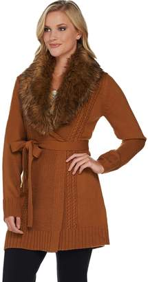 Dennis Basso Mix Stitch Belted Cardigan with Faux Fur Collar