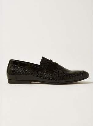Topman Mens Black Patent Husky Embossed Penny Loafers