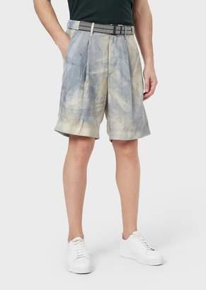 Giorgio Armani Bermuda Shorts In Stretch Cotton With A Belt