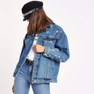 River Island Womens Blue embellished oversized denim jacket