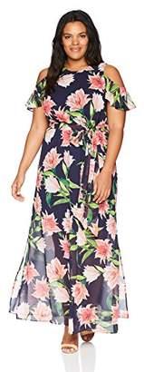 Eliza J Women's Plus Size Cold Shoulder Maxi Dress