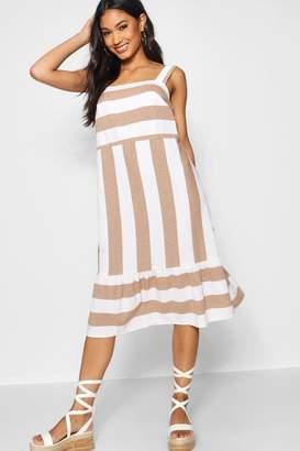 boohoo Wide Stripe Cotton Drop Hem Smock Dress
