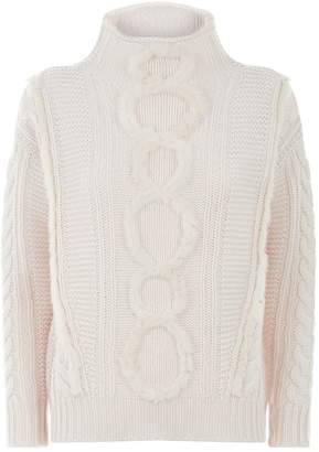 Lorena Antoniazzi High Neck Cable Knit Sweater