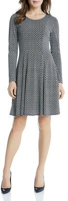 Karen Kane Geo Diamond Print Flared Dress $109 thestylecure.com