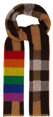 Burberry Rainbow Striped Checked Cashmere Scarf - Womens - Beige