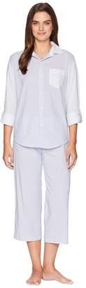 Lauren Ralph Lauren Stripe Long Sleeve His Shirt Pajama Set Women's Pajama Sets