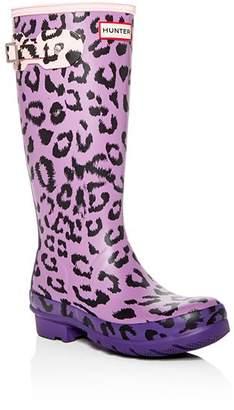 Hunter Girls' Original Matte Leopard-Print Rain Boots - Little Kid, Big Kid