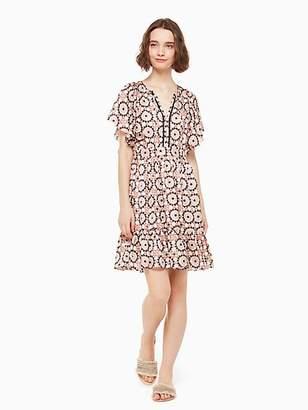 Kate Spade Fl Mosaic Flutter Dress