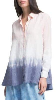 DKNY Ombre Long-Sleeve Linen Button-Down Shirt