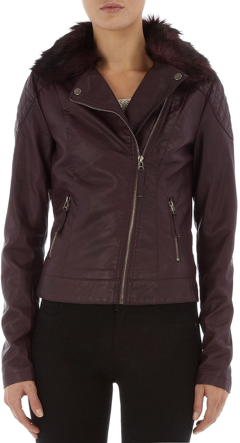 Burgundy detachable fur collar biker