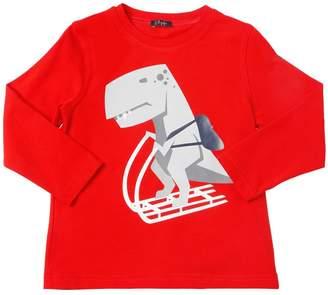 Il Gufo Dino Ski Printed Cotton Jersey T-Shirt