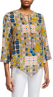 83c17b6053fbc8 Tolani Plus Size Salerno Tile-Printed Tassel-Tie Silk Tunic